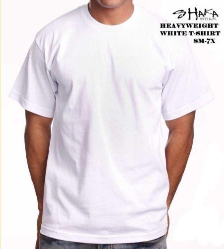 SHAKA WEAR HEAVYWEIGHT MAX SHORTSLEEVE WHITE T-SHIRT SM-7X REG OR TALL TEES