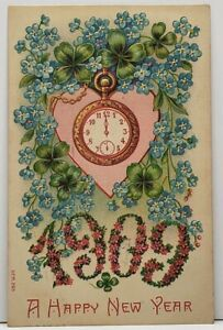 Happy-New-Year-Embossed-Heart-Clovers-Pocket-Watch-Floral-1909-Postcard-G15