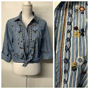 VTG-Western-Boho-Floral-Embroidered-Striped-Button-Up-Shirt-Womens-Medium-Petite