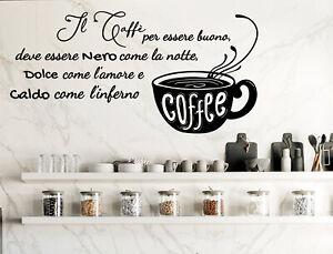 Dettagli su Adesivi murali frasi cucina caffè wall stickers adesivo da muro  per parete bar