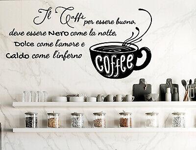Adesivi murali frasi cucina caffè wall stickers adesivo da muro per parete  bar | eBay