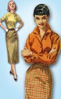 1950s Vintage Simplicity Sewing Pattern 1688 Misses Slender Wrap Skirt 28 Waist