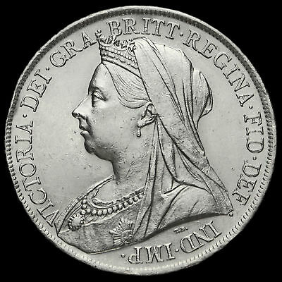 1900 Queen Victoria Veiled Head LXIII Silver Crown, Scarce, EF