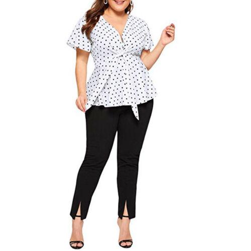 Women/'s Plus Size V Neck Short Sleeve Ruffle Printed Shirt Tops Summer Blouse