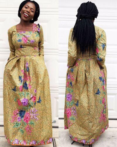 Women African veroex long sleeve Lady Evening Long Maxi party Dress.