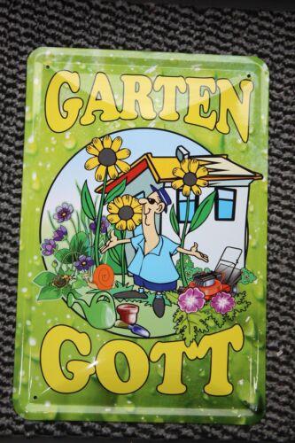 Garten Gott Blechschild 20x 30 cm Blechschilder Schild Gärtnerei Gärtner garden
