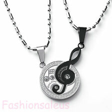 "Stainless Steel Matching Music Note ""I Love You"" Pendant Couple's Necklace Set"