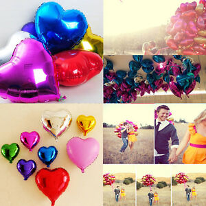 Solid-Color-Lot-Heart-Shape-Wedding-Birthday-Party-Helium-Foil-Balloons-18-Inch