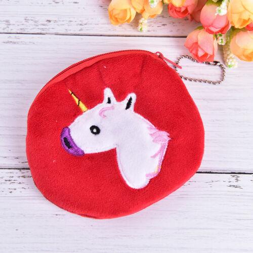 Cute Mini Unicorn Girls Zipper Plush Coin Purse Kawaii Key Chains Womens Wallet