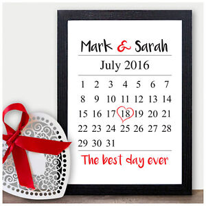 Personalised 1st 2nd 10th Wedding Anniversary Date Present Mr Mrs