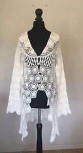 Bella Freud White Crochet Cardiganbeach Cover Up Size 10 Ebay