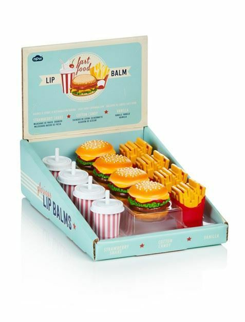 Fast Food Burger Fries & Shake Lip Balm 3pc Set Strawberry Cottoncandy & Vanilla