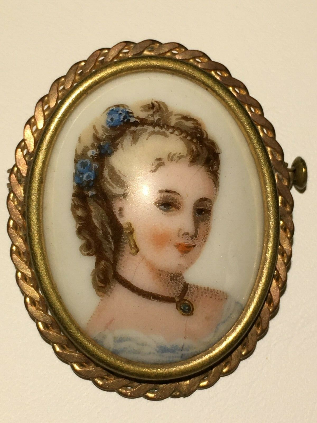 1890 Limoges Porcelain Hand painted Cameo Brooch
