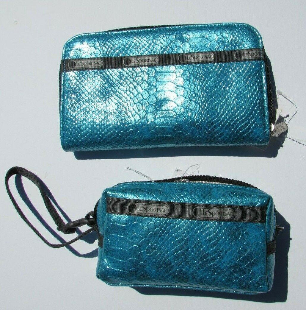 Le Sportsac Aqua blue black silver gray wallet & wristlet zipper RARE Summer NEW