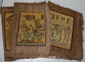 Lot-of-6-Dark-Egyptian-Papyrus-Paintings-8X12-034-Assorted-Scenes-Hand-Painted