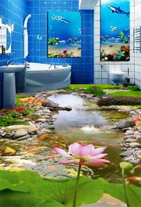 3D Lotus Creek 4322 Floor WallPaper Murals Wallpaper Mural Print AJ AU Lemon
