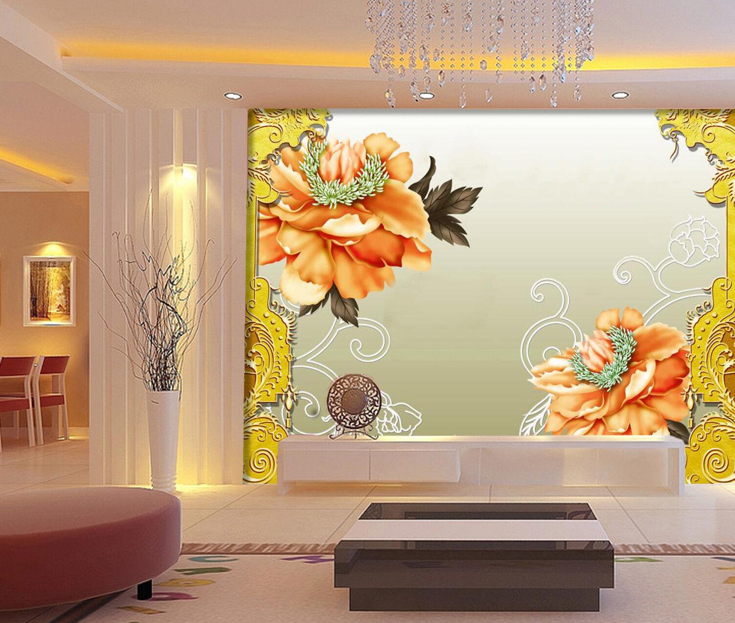 3D Orange Peony 4 Wallpaper Murals Wall Print Wallpaper Mural AJ WALL AU Lemon