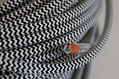 Methodisch 1m Stoffkabel Weiss Schwarz Zick Zack Kabel Stoffummantelt 3 X 0,75 Lampe Textil Ein GefüHl Der Leichtigkeit Und Energie Erzeugen
