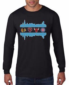 Chicago Fan Sport Teams Men's Long Sleeve T-SHIRT Combined Logo Mashup gift