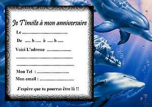 Carte Anniversaire Dauphin.5 Cartes Invitation Anniversaire Dauphin 03 D Autres Articles En