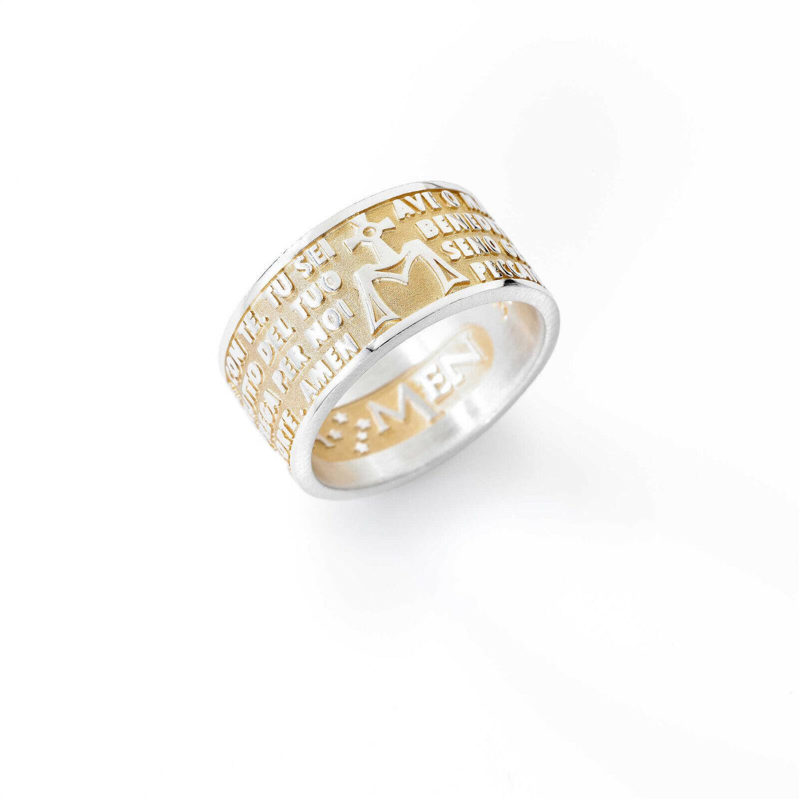 GIOIELLI AMEN ANELLO women gold PREGHIERA AVE MARIA silver 925 AMG-22 MIS 22