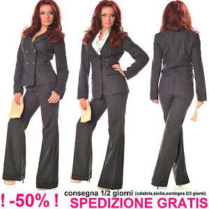 Elegante-Giacca-Gessata-Donna-Grigio-Scuro-Business-Blazer-da-Cerimonia-Ufficio