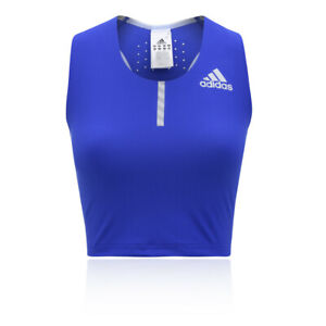 adidas-Femmes-Adizero-Debardeur-Haut-Court-Noir-Bleu-Sport-Gym-Respirant-Leger