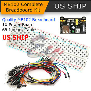 65PCS Jump Cable Wires+MB102 Power Supply Module 830 Solderless PCB Breadboard