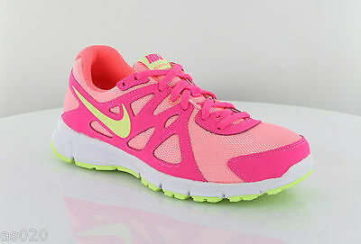 Nike Revolution 2 Gs Junior Kids Girls Running Sneakers-rosa Shocking & Lime- Ad Ogni Costo