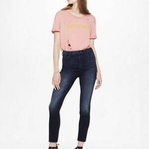 105e9e1aec4bc NWT MOTHER HIGH WAISTED LOOKER NIGHT OWL ANKLE FRAY SKINNY JEANS 32 ...