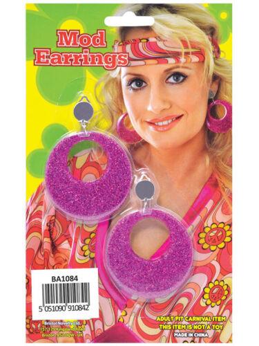 Groovy 60s 70s Sparkly Glitter Clip On Mod Earrings Fancy Dress Accessory New