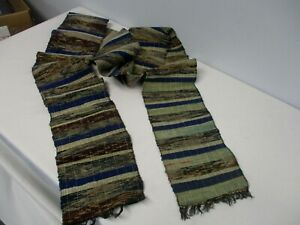 ANTIQUE-HAND-WOVEN-JAPANESE-OBI-TEXTILE-SCARF-SHAWL-VERY-LONG-116-034
