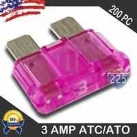 200 Pack 3 Amp Atc/ato Standard Regular Fuse Blade 3a Car Truck Boat Marine Rv