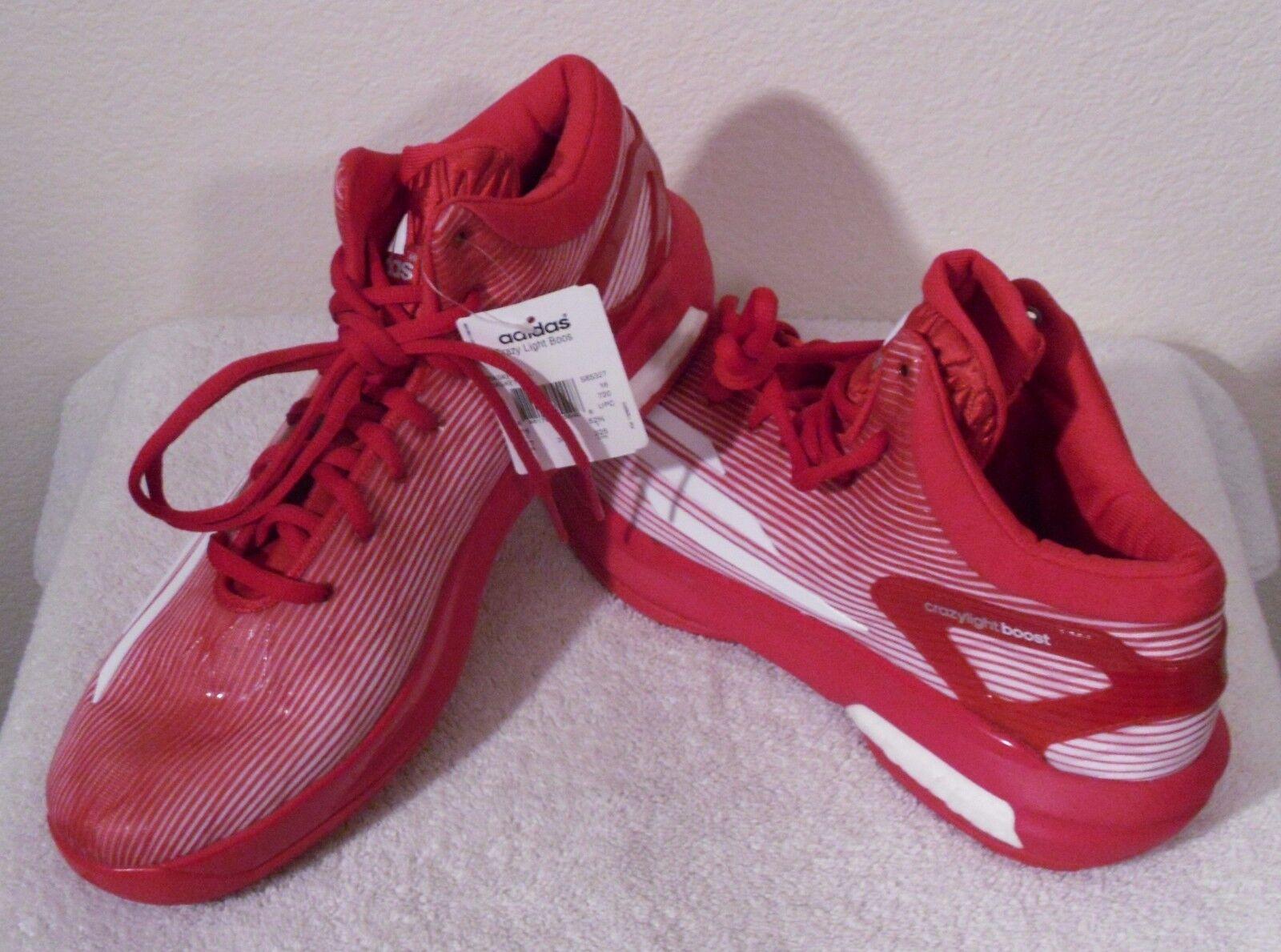 Nuevo con hombres etiquetas ADIDAS SM Crazy Light Boost Para hombres con Baloncesto Calzado 17 Rojo/Blanco MSRP 140 001f86