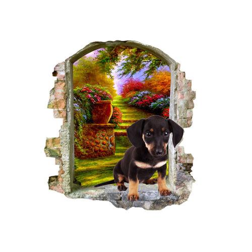 M529 Lindo Salchicha Perro Mascota De Jardín Pegatinas de Pared Dormitorio Niñas Niños Sala de Estar