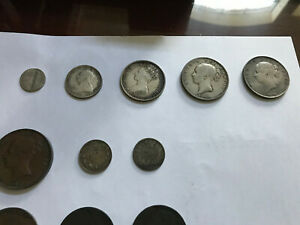 Great-Britain-coin-lot-silver-Victoria-Farthing-Pence-Penny-Schilling-15-coins