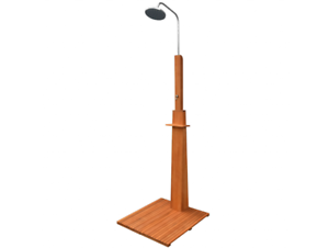 Outdoor Pool Shower Wood Steel Brown  Freestanding Poolside Bath Patio Garden  exclusive designs