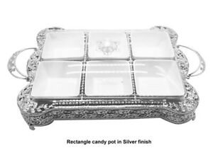 SILVER-TRAY-FRUIT-DRY-SERVING-DRIED-NUTS-PLATE-SNACK-DISH-LID-COMPARTMENT