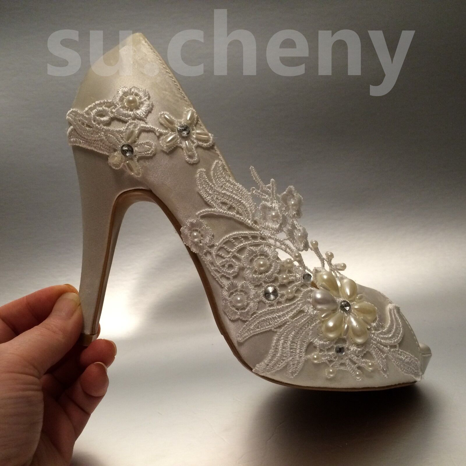 Su.cheny 3  4  heel heel heel satin Weiß ivory lace pearls peep toe Wedding Bridal schuhe 86b49d