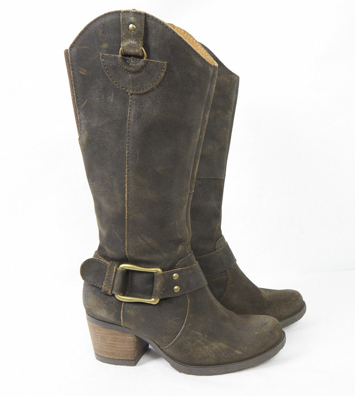 BORN Loreza Brown Leather Knee High Harness Western Heel Riding Boots Women 7.5