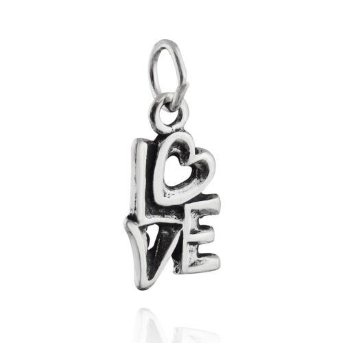 Love word Charm-Argent Sterling 925-Coeur Anniversaire VALENTINE Cadeau Nouveau