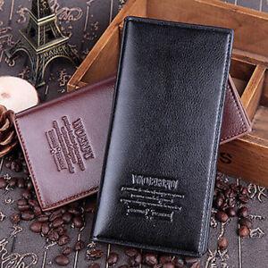 Men's Leather Long Wallet Bifold ID Card Holder Checkbook Clutch Purse Handbag
