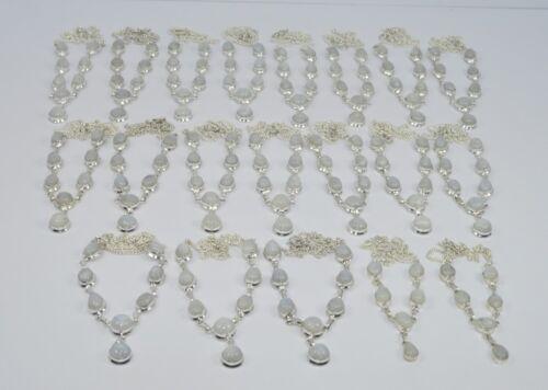 Wholesale 20PC 925 Plaqué Argent Blanc Arc-en-Pierre De Lune Collier Lot P1226
