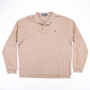VINTAGE-Polo-Ralph-Lauren-kaki-beige-a-manches-longues-Casual-Polo-Shirt-Taille-Homme-XL