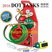 Portable Welding Oxygen Acetylene Torch Kit W Tote+certified Dot Tanks(empty)