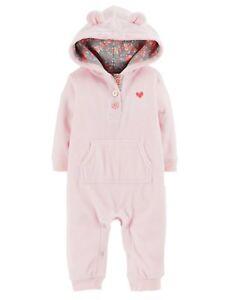 2c3b765de Image is loading Carters-Infant-Girls-Pink-Fleece-Heart-Themed-Jumpsuit-