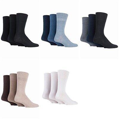 6 Prs Mens Sockshop Diabetic Gentle Grip Socks 6-11 UK 39-45 EUR Black Navy Grey