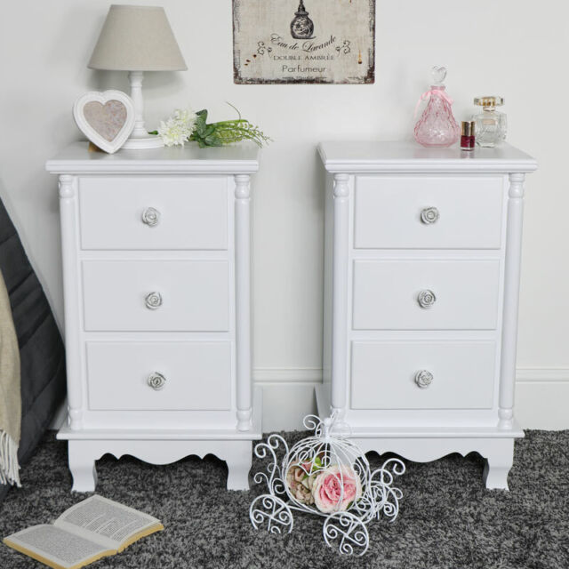 Pair Of White 3 Drawer Bedside Chest Drawers Vintage French Bedroom Furniture
