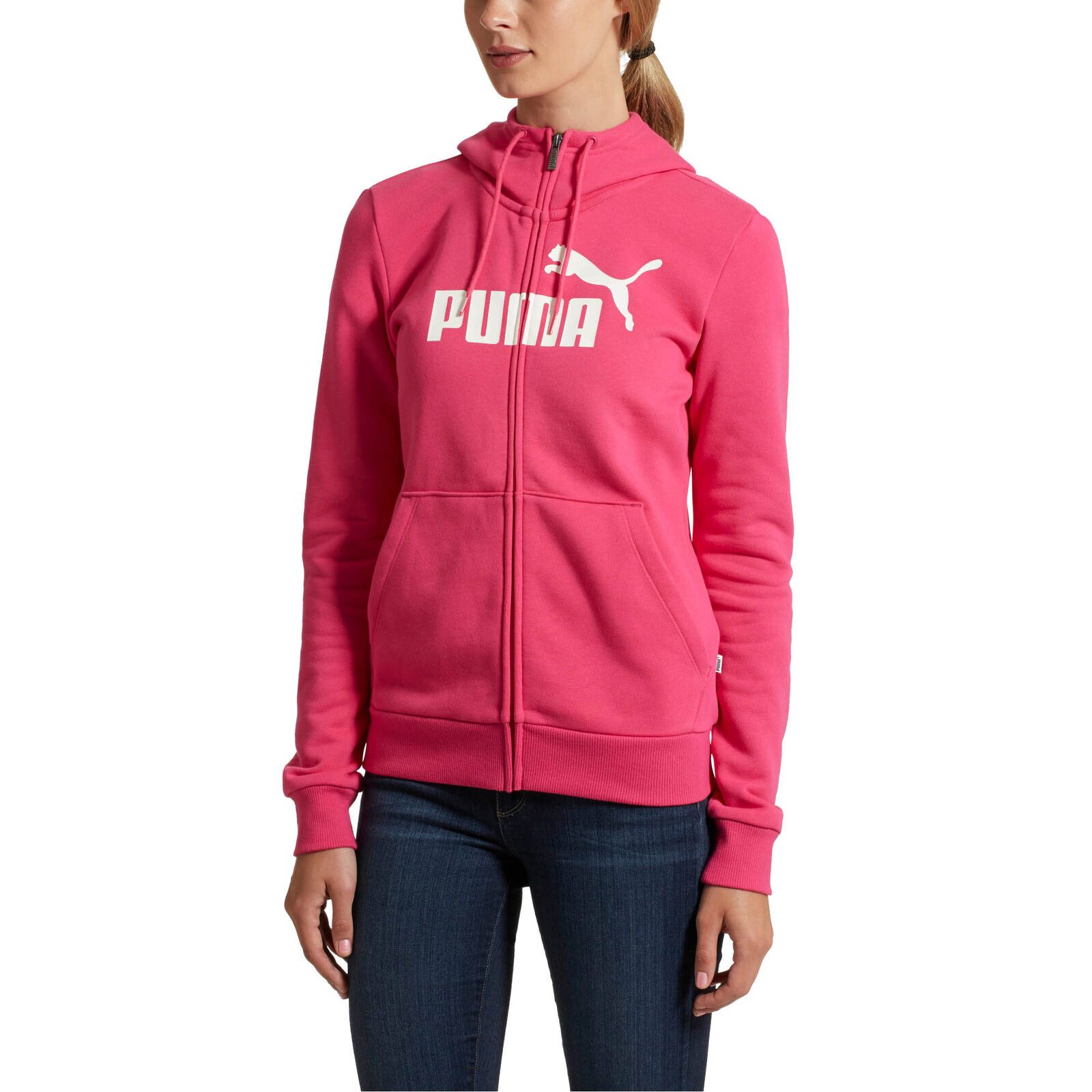 Puma Womens Essential Logo Cotton Full-Zip Training Hoodie Casual Fleece Warm