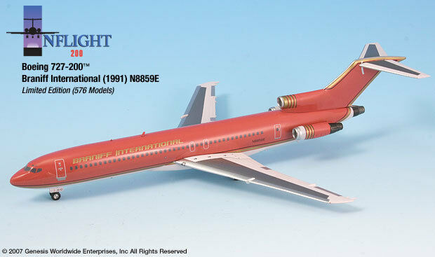 InFlight200 Braniff Airlines Ultra rosso oro Boeing 727-200 1 200 Scale N8859E